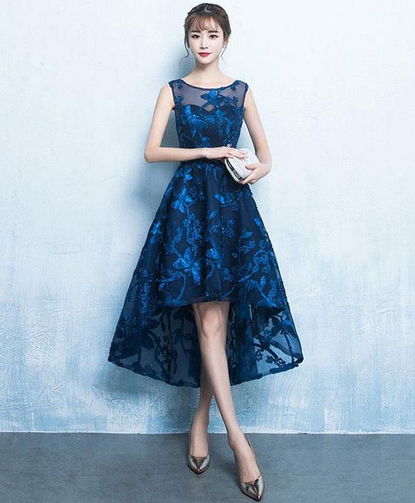 Dark blue high low short prom dress, lace evening dress – shopluu