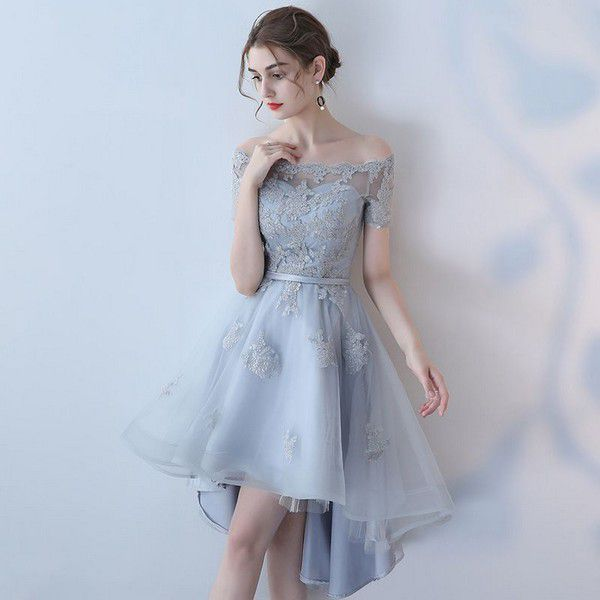 Cute gray lace tulle short prom dress, high low evening dress · Dress idea · Online Store Powered by Storenvy