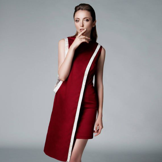Red Asymmetrical Shift Cocktail Dress Midi Wedding Guest | Etsy
