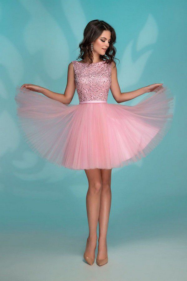 Pink Evening Mini Dress @ salonvalens #worldofstylishwoman | Розовое платье на выпускной, Платья, Вечерние платья