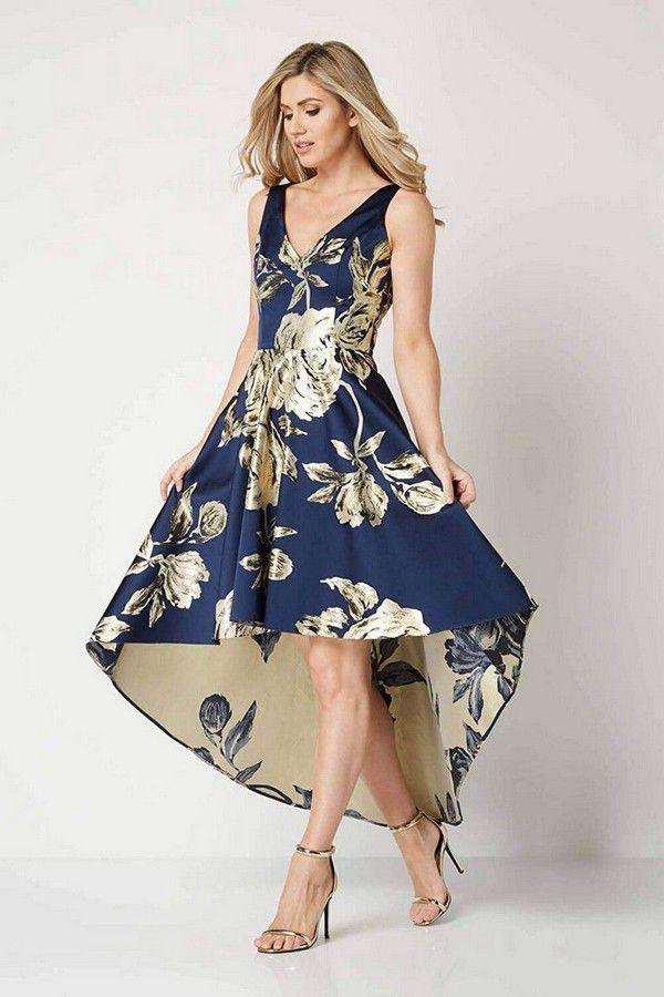 Roman Originals Women Metallic Jacquard Floral Print Dress Ladies Rose Flower Midi Formal A-line Fit & Flare High Low Asymmetric Dip Hem Pocket Ball Gown
