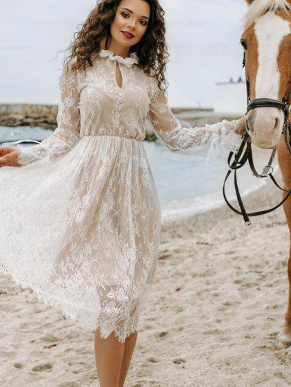 Белое кружевное нарядное короткое вечернее платье, фото 1