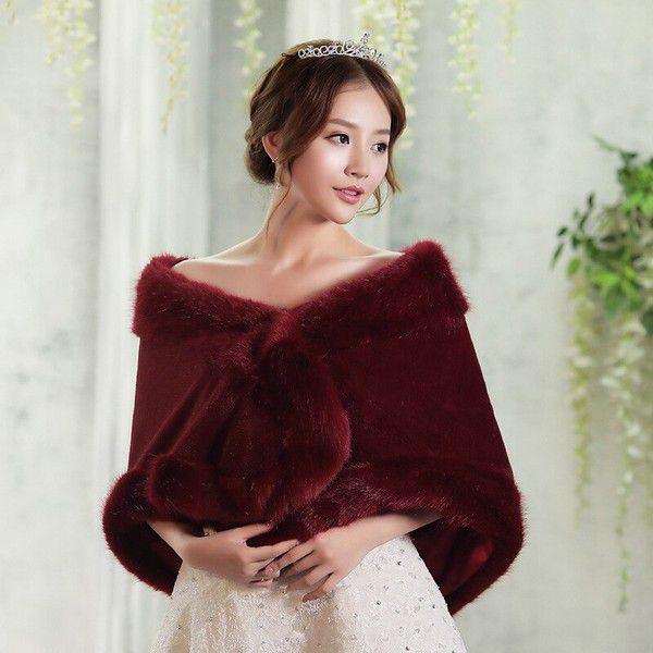2020 New Arrival Burgundy Winter Wedding Wraps Warm Faux Fur Bolero Shawls Jacket for Bridal Bridesmaid Accessories|Wedding Jackets / Wrap| - AliExpress