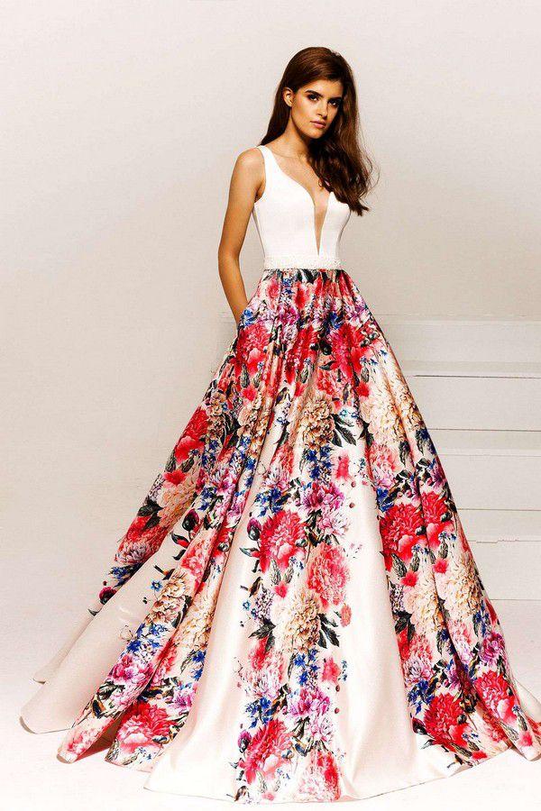 Вечерние платья с цветочным принтом на Выпускной 2019