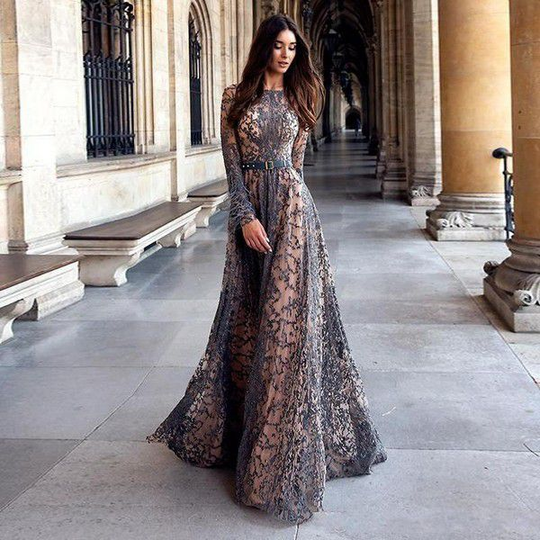 Luxury Beads Lace Evening Dresses 2020 Baeau Neck Long Sleeves With Feathers Prom Dress Floor Length Special Occasion Formal Party Gowns Cheap Ball Gown Prom Dresses Cheap Cute Prom Dresses From Covenantrose,