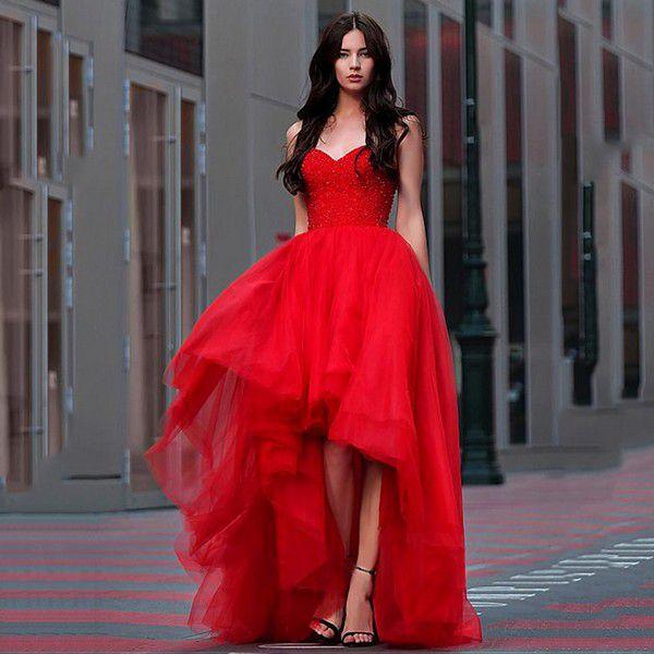 Платье для выпускного вечера с бисером, длинные тюлевые вечерние платья для выпускного вечера 2020, красное платье трапециевидной формы с высоким низом, вечернее платье, vestido de festa - купить недорого в интернет-магазине с