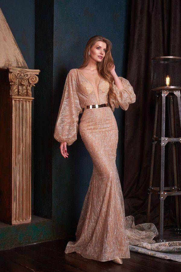 Блестящее платье с широкими рукавами Lanesta Zeya — купить в Москве - Свадебный ТЦ Вега