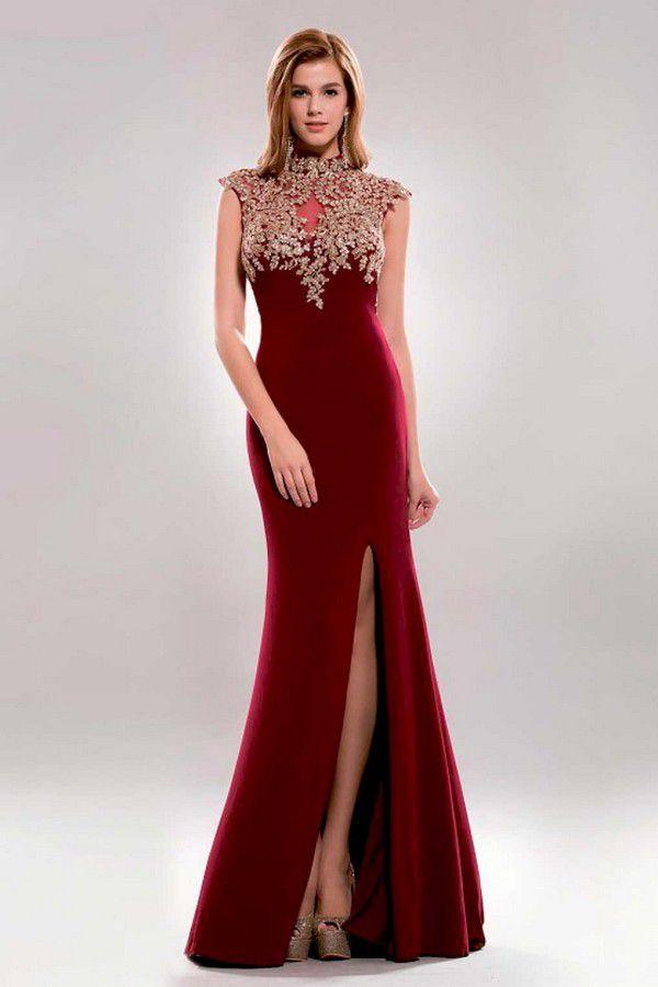 O&Ts #SP 6746 Платье с Золотой Отделкой Цвета Марсала