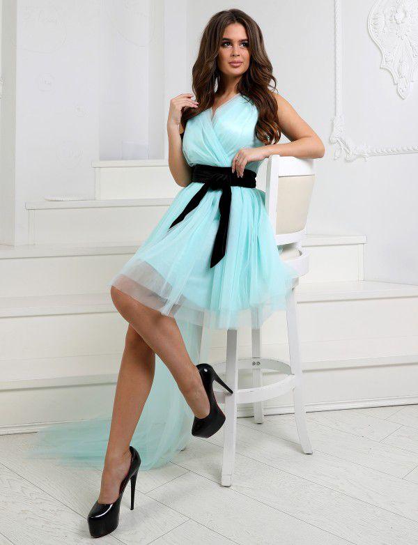 P 1037 Платье коктейльное со съемным шлейфом - Интернет-магазин Enigma