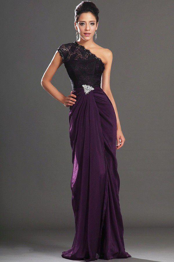 Фиолетовое вечернее платье на одно плечо | Выпускные платья с открытой спиной, Вечерние платья, Фиолетовые вечерние платья