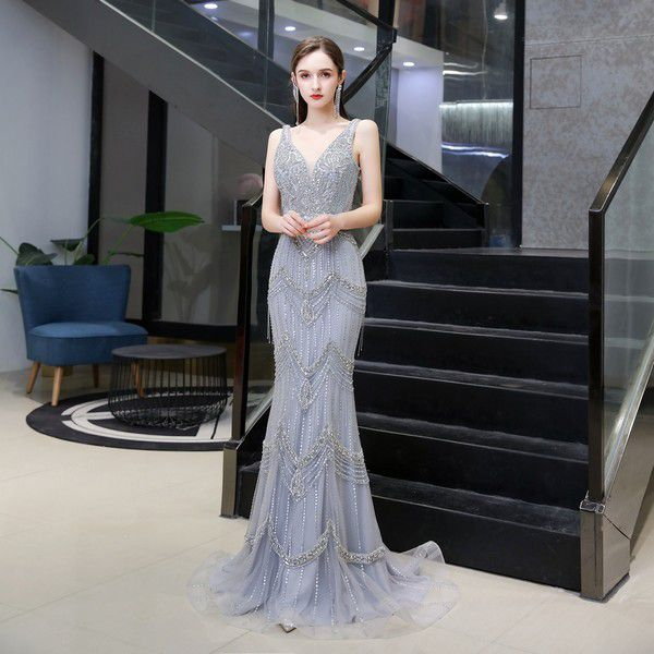 Sliver Luxury Beading Crystal Mermaid Evening Dresses 2020 V-Neck Women Formal Party Long Prom Gown With Jacket vestido de festa – купить по цене $202.44 в aliexpress.com | imall.com