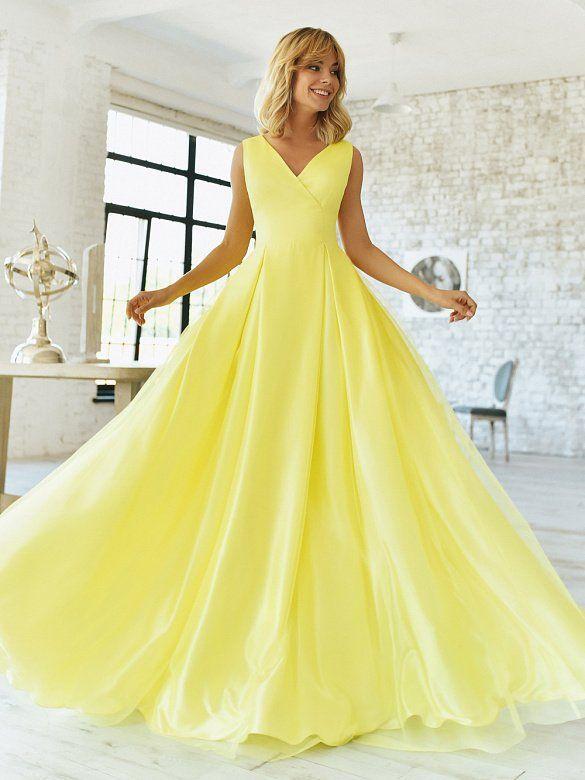 Желтое атласное вечернее платье RB077B | Вечерние платья, Платья, Длинные платья