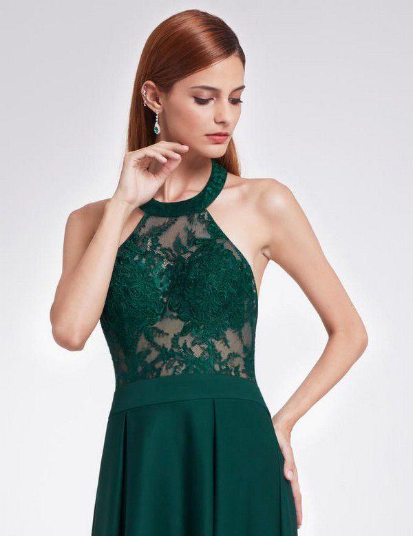 Элегантное длинное вечернее зеленое платье с американской проймой и | Вечерние платья