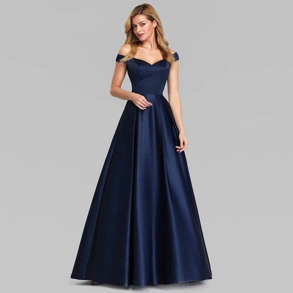 Navy Blue Elegant Women Long Prom Dresses 2020 Ever Pretty Satin A-LIne V-Neck Off The Shoulder Vintage Formal Party Dresses