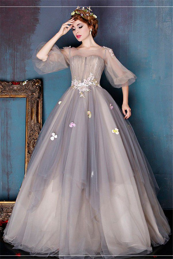 Fairy Ball Gown Illusion Neckline Light Brown Tulle Prom Dress With Sleeves