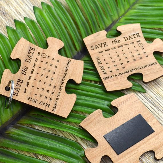 LIMITED EDITION Engraved Wooden Puzzle Save The Date Keyring | Wedding puzzle pieces, Wood invitation, Save the date