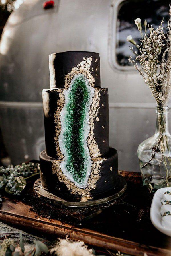 https://www.elegantweddinginvites.com/wedding-blog/wp-content/uploads/2020/09/retro-stylish-black-emerald-gold-geode-wedding-cake-683x1024.jpg