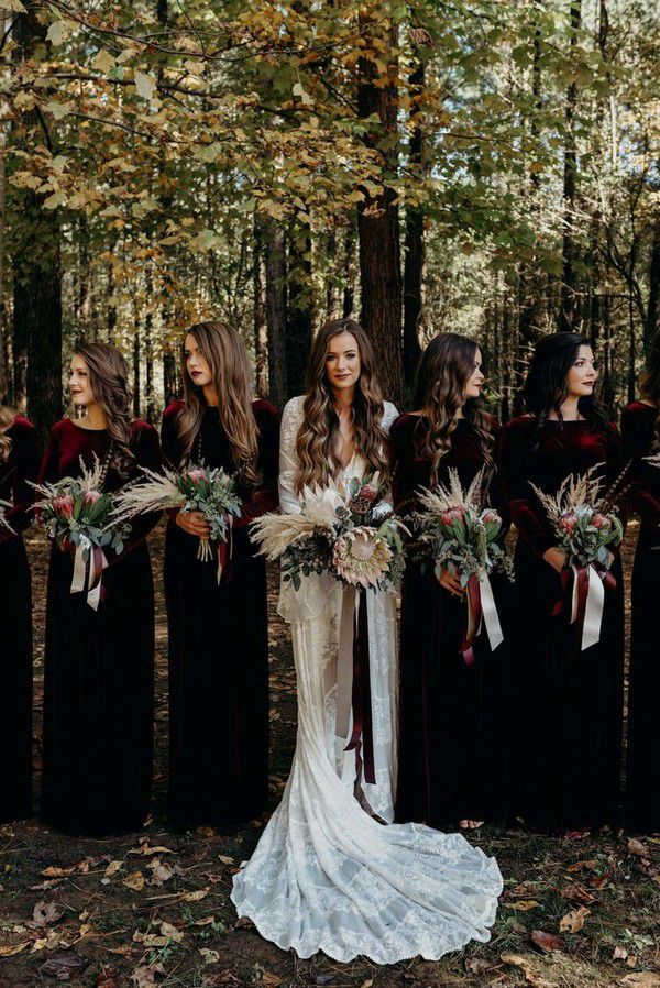 Take a Peek at a Wedding Inspired by Ralph Lauren's Iconic Style | Emerald green bridesmaid dresses, Green bridesmaid dress winter, Winter wedding bridesmaids