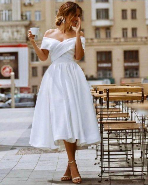 Прокат или купить Свадебное атласное платье миди в Москве